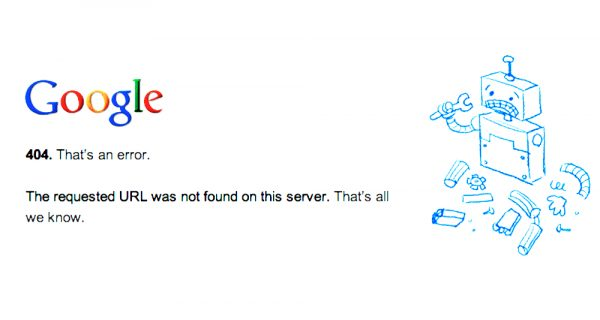 Google 404 Error Message