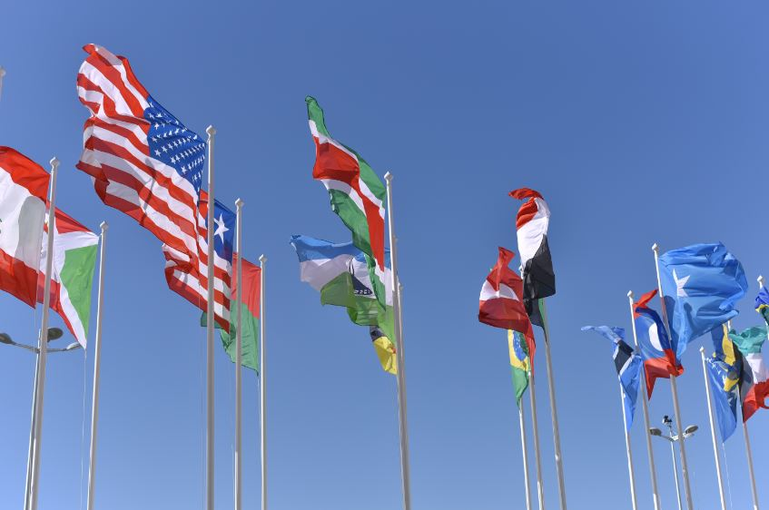 National flags waving in sky