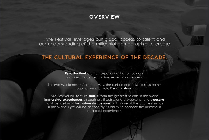 Overview page from the Fyre Festival website