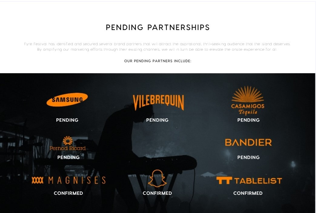 Pending Partnership page from the Fyre Festival Website