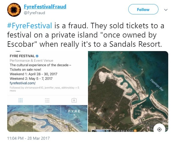 A tweet from the Fyre Festival Fraud Twitter account