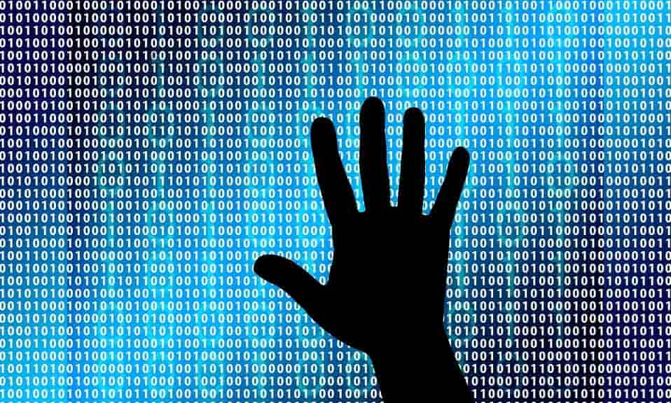 Cybersecurity background with hand