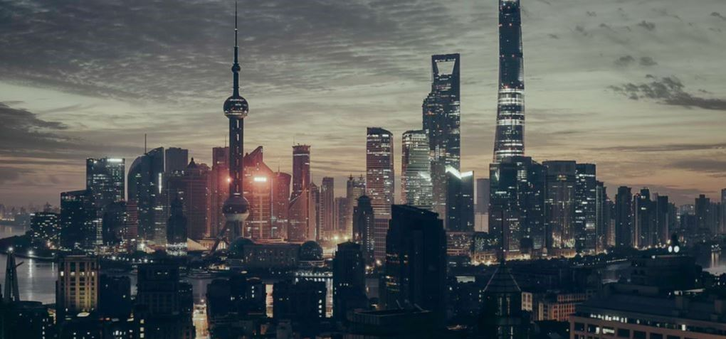 City in China at dusk