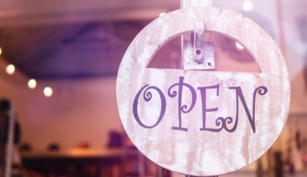 Open sign at cafe